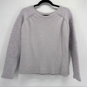 Guess Gray Mixed Texture Banded Neck Hem Sweater